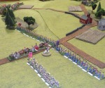 Confederate infantry advances in the center.