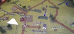 A Union charge drives back a Confederate infantry brigade. To the left a firefight starts which will last several turns.