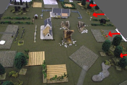 Infantry squads advance on to the table. Each side hid a mortar team in the corner behind woods.