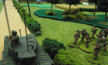After a preliminary barrage, the British approach the German positions.