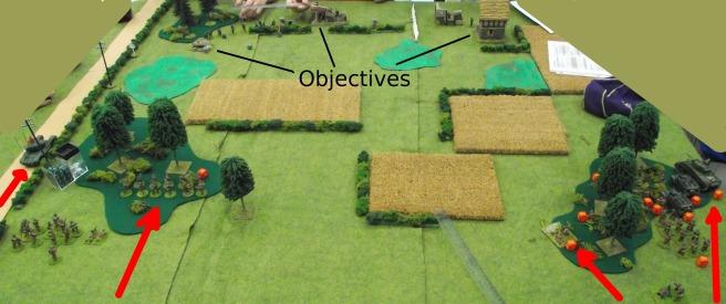 Looking across the open fields toward the objectives.