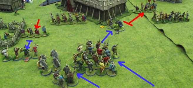 The Vikings lose a melee on the left and drive back the Saxon leader in the center.