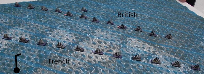 The starting positions from the Flying Colors rule book. The British are to windward. All ships are on a reach.