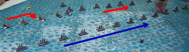 The French maintain the line while the rear British ships close in. The leading ships exchange fire.