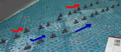 The rear French ships bear off to maintain their distance from the British.