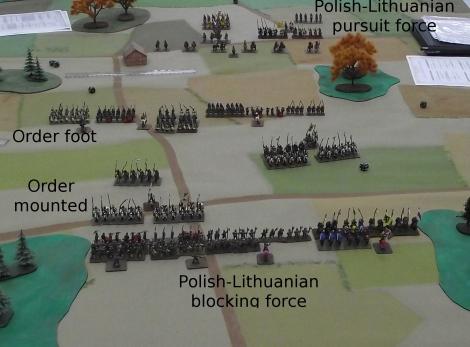 The mounted Order units attack the blocking force while the foot units block the pursuit.