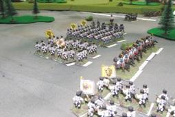 The Austrian division on the left flank advances.