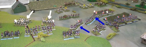 The French center left division advances to meet the oncoming Austrians.