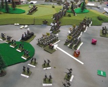 French infantry units break and the Austrian left flank advances toward French a battery