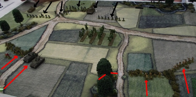 Both sides advance onto the table, leaving mortar and heavy MG units in woods at the table edges.