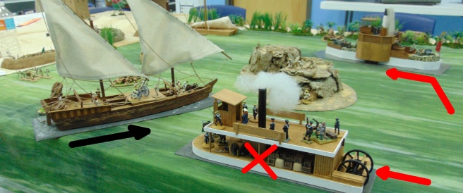 A second large Dhow appears and blows up a British steamer with a lucky hit.