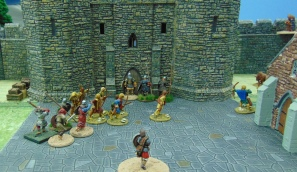 Sherwood men fighting to get into the Keep.