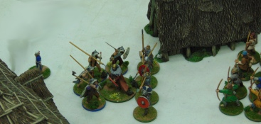 Berserkers attack the Saxon warlord and his men. The Vikings are all killed in the melee. The Saxon warlord would prove to be impervious throughout the battle.