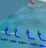 The US cruisers turn to close the reported enemy, but the battleships are not allowed to react immediately.